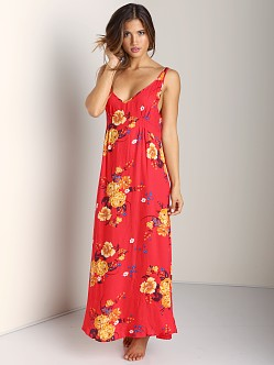 Free People Cinched Slip Printed Red