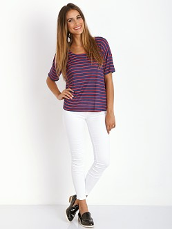 Splendid New Haven Stripe Box Tee Navy/Red