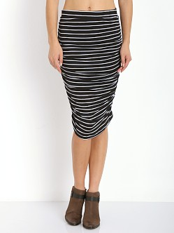 Splendid New Haven Stripe Midi Skirt Black/White