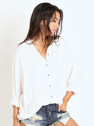 Free People Rayon Herringbone True Affection Buttondown Shirt Iv