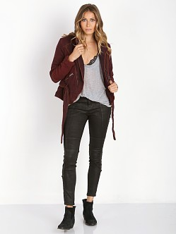 Free People Double Cloth Twill Wrap Jacket Blackberry