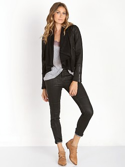 Free People Drape Front Coated Jacket Black