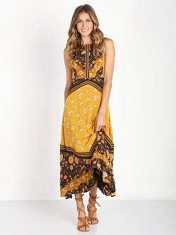 Free People 60's Sunrise Oblivion Dress Antique Gold