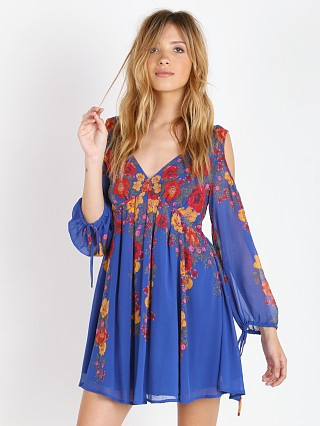 Free People Penny Lover Mini Dress Cobalt Combo