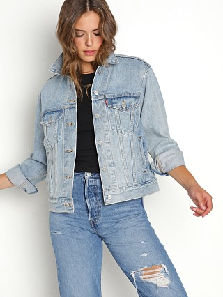 Model in for real Levi's Ex-Boyfriend Denim Trucker Jacket