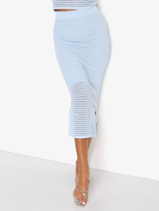 Model in baby blue Callahan Genny Skirt