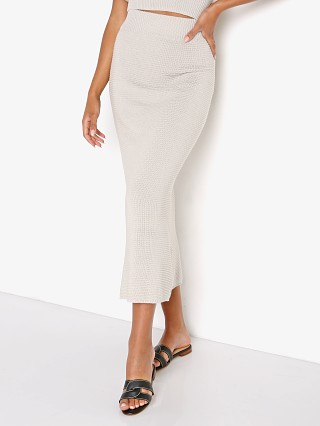 Model in grey Callahan Genny Skirt