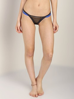 Beach Bunny Love Haus Bounded Thong Black/Sapphire