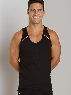 2xist Athletic Henley Tank Top Black