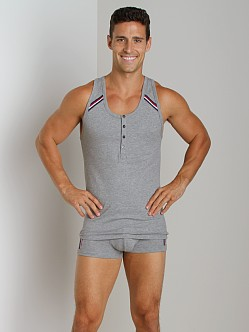 2xist Athletic Henley Tank Top Heather Grey