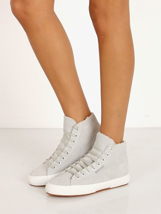 Superga 2795 Sherpa Shearling Lined High Top Sneaker Sky Grey