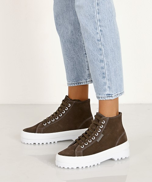 Superga 2341 Suede High Top Sneaker Dark Grey