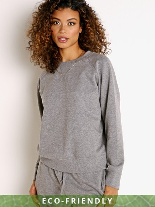 Model in heather grey Richer Poorer Recycled Fleece Crew Sweatshirt