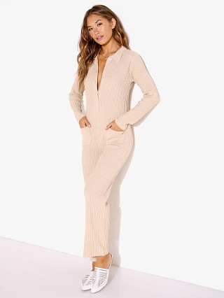 Model in sand Rue Stiic Phoneix Knit Worksuit