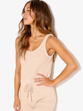 Model in sand Rue Stiic Rachel Knit Tank