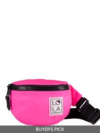 Model in laser pink LOLA Moonbeam Bum Bag