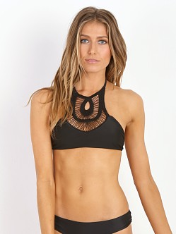 Bettinis Crochet Halter Bikini Top Black