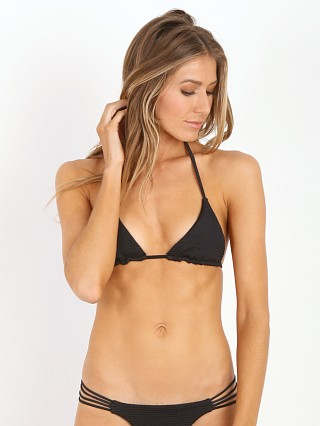 Bettinis Smocked Triangle Bikini Top Black