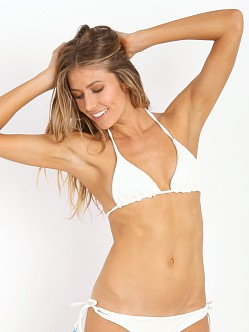Bettinis Smocked Triangle Bikini Top Bone