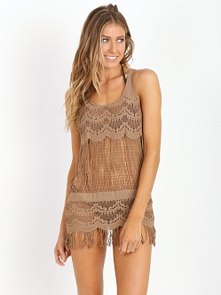 Bettinis Lace Dress with Fringe Putty