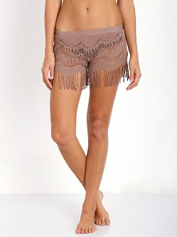 Bettinis Lace Shorts with Fringe Putty