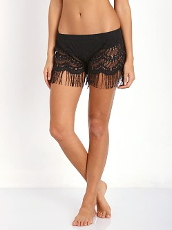 Bettinis Lace Shorts with Fringe Black