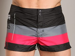 Diesel Grommet Stripe Swim Shorts Black