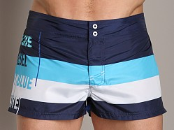 Diesel Grommet Stripe Swim Shorts Blue