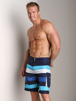 Diesel Deck Stripe Board Shorts Blue