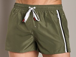 Diesel Coralrif Sidestripe Swim Shorts Military Green