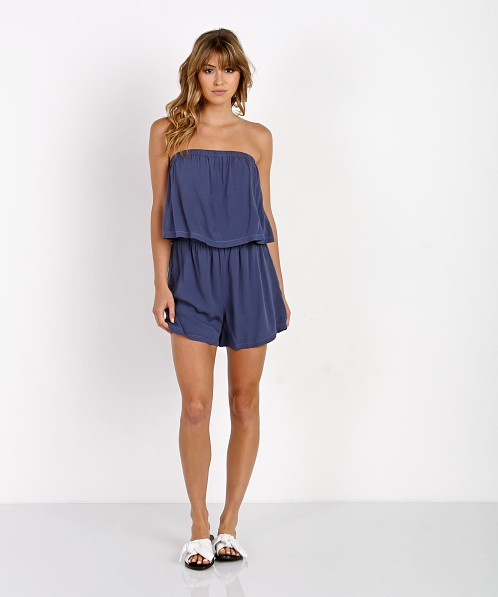 Bella Dahl Strapless Flowy Romper Crown Blue