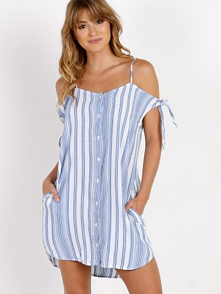 Bella Dahl Shoulder Tie Button Dress White Stripe