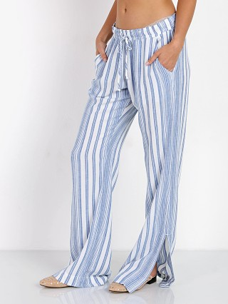 Bella Dahl Side Slit Wide Leg Pant White Stripe