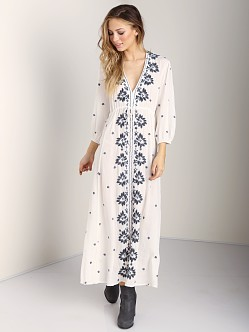 Free People Embroidered Dress Ivory Combo