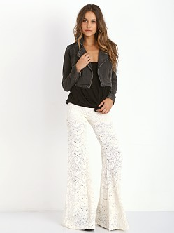 Free People Cropped Moto Jacket Washed Black