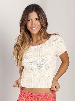Free People Sweater Textured Tee Cream