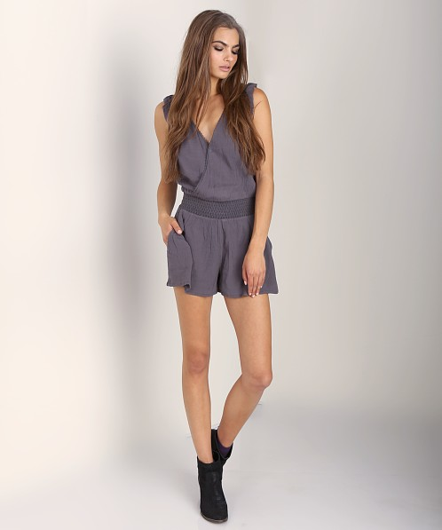 Free People Surplice Romper Charcoal