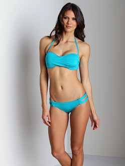 Vitamin A Gold Bel Air Bandeau Bikini Top Teal