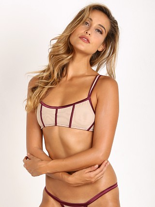 Beach Bunny Love Haus Stripe Illusion Bralette Wine