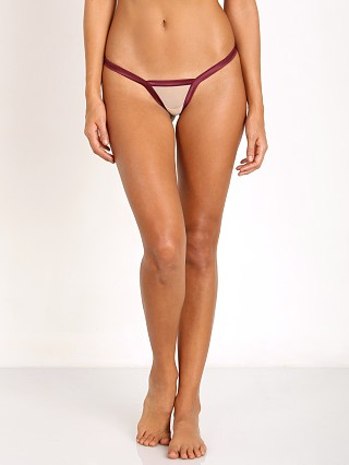 Beach Bunny Love Haus Stripe Illusion Micro Thong Wine