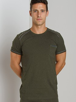 Diesel Mark Cotton Jersey Crew Neck Shirt Green