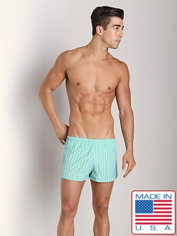 Sauvage La Jolla Retro Nylon Swimmer Sky/Lime Plaid