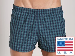 Sauvage La Jolla Retro Nylon Swimmer Forest/Navy Plaid