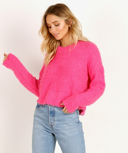 Show Me Your Mumu Cropped Varsity Sweater Dazzling Pink