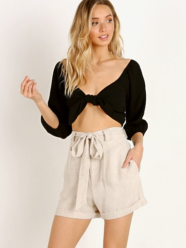 Show Me Your Mumu Cristina Crop Top Black Linen