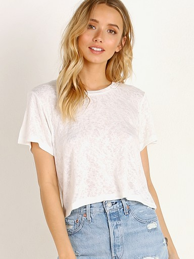 LNA Clothing Rian Crop Tee White