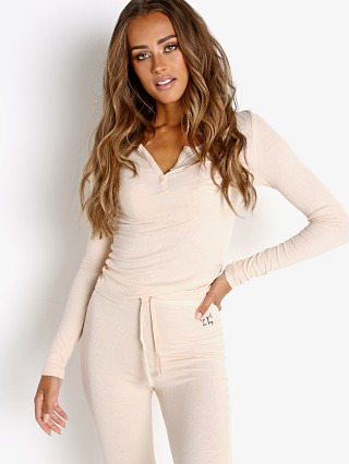 Model in blush Les Girls Les Boys Fine Rib Henley