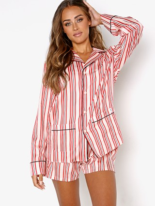 Model in cream Les Girls Les Boys Stripe Boys PJ Top