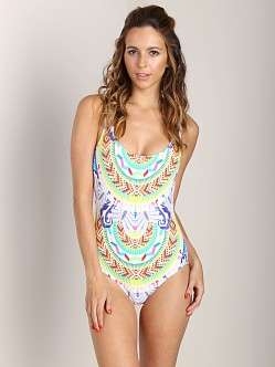 Mara Hoffman Tank Maillot Jungle Trip Blue