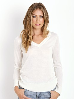 Splendid Cashmere Blend V Neck Pullover Cream